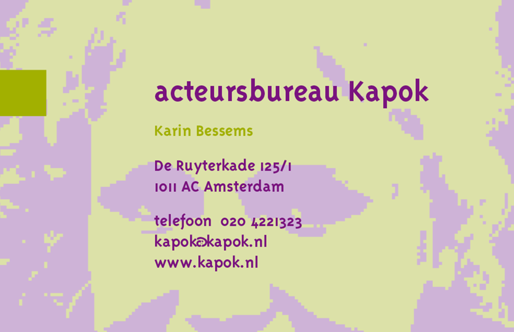 Acteursbureau Kapok visitekaartje2a