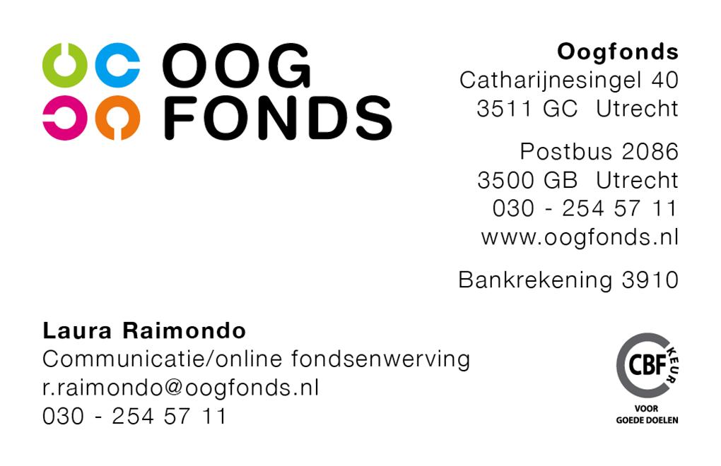 Oogfonds visitekaartje