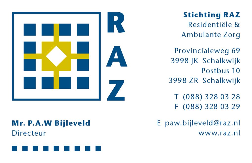 Stichting RAZ visitekaartjes